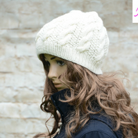 Knitted Cable Beanie Hat Adult Unisex Alpaca Blend Cream