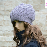 Knitted Cable Beanie Hat Adult Unisex Alpaca Blend Lilac