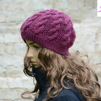 Knitted Cable Beanie Hat Adult Unisex Alpaca Blend Plum