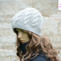 Knitted Cable Beanie Hat Adult Unisex Alpaca Blend Light Grey