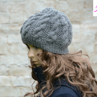 Knitted Cable Beanie Hat Adult Unisex Alpaca Blend Dark Grey