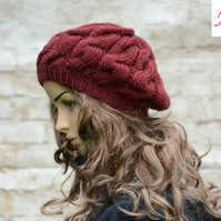 Cable Knitted Beret Womens Slouchy Hat Chunky Hat Burgundy