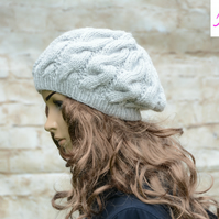 Cable Knitted Beret Womens Slouchy Hat Chunky Hat Light Grey