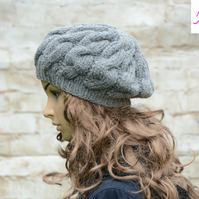 Cable Knitted Beret Womens Slouchy Hat Chunky Hat Dark Grey