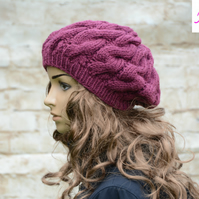 Cable Knitted Beret Womens Slouchy Hat Chunky Hat Plum