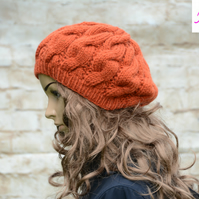 Cable Knitted Beret Womens Slouchy Hat Chunky Hat Orange