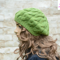 Cable Knitted Beret Womens Slouchy Hat Chunky Hat Green