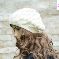 Cable Knitted Beret Womens Slouchy Hat Chunky Hat Cream