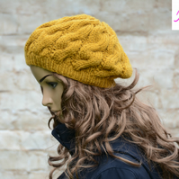 Cable Knitted Beret Womens Slouchy Hat Chunky Hat Mustard Gold