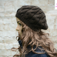 Cable Knitted Beret Womens Slouchy Hat Chunky Hat Brown