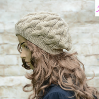 Cable Knitted Beret Womens Slouchy Hat Chunky Hat Beige - Khaki