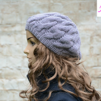 Cable Knitted Beret Womens Slouchy Hat Chunky Hat Lilac