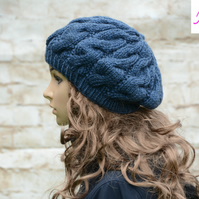 Cable Knitted Beret Womens Slouchy Hat Chunky Hat Blue