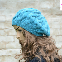Cable Knitted Beret Womens Slouchy Hat Chunky Hat Turquoise