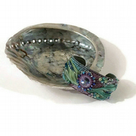 Shibori Ribbon, Swarovski Crystal and Abalone Shell, Bead Embroidery Cuff