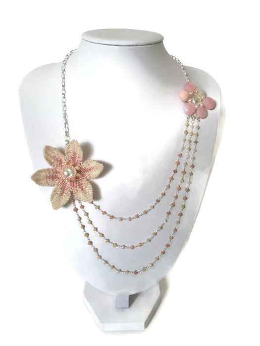 Opal and Pearl Asymmetric Necklace With Sterling Silver and Seed beads