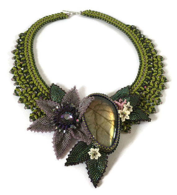 Statement Labradorite and beaded flowers and leaves collar necklace