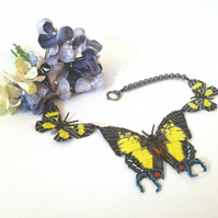 Yellow and Black Beaded Butterfly Necklace with Haematite beads