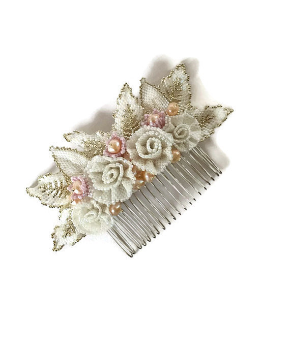 Beaded Flowers Bridal Haircomb, in White, Silver and Pastel Pink  with Pearls