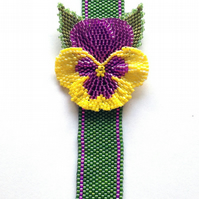 Statement Beaded Pansy and Leaves Bracelet, in Purple and Yellow