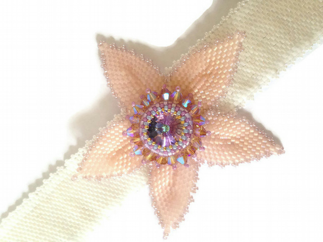Beaded Flower Corsage Cuff Bracelet with Swarovski Crystals, in White and Pink