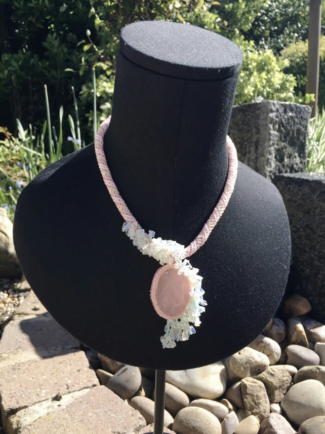 Rose Quartz and Opalite beaded rope necklace