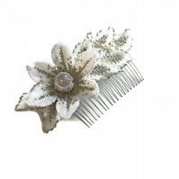 Hand made beaded flower bridal wedding hair comb with diamonds