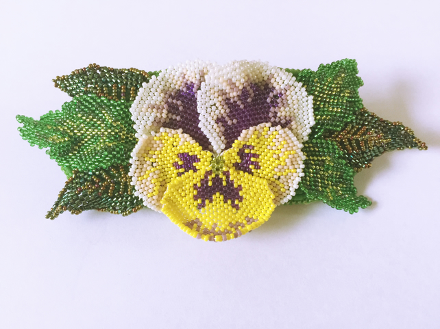 Hand Beaded Pansy Flower Hair Clip, Hair Accessory
