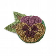 Beaded Pansy Flower Brooch Pin in Pinks and Yellow