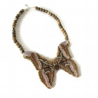 Statement Beadwork Butterfly, Silk Moth Necklace