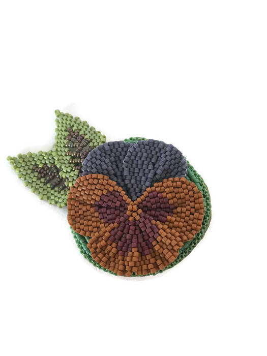 Beaded Pansy Flower Brooch Pin in Purple and Orange