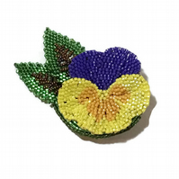 Pansy flower brooch pin in yellow and purple.  Beadwork brooch