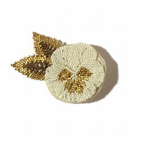 Cream and gold hand made beadwork pansy flower brooch