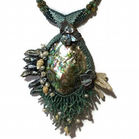 Mermaid Necklace, Abalone Pendant Embellished with Cream and Peacock Pearls.