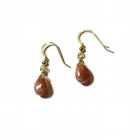 Sunstone Drop Earrings finished with Gold Vermeil Findings