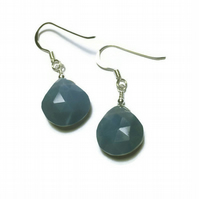 Faceted Blue Opal With Sterling Silver Earrings