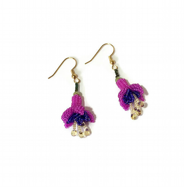 Beaded Fuchsia Flower Earrings