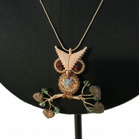Gold and Brown Owl Pendant With Snake Chain