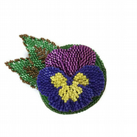 Beaded Flower Brooch, purple and yellow pansy