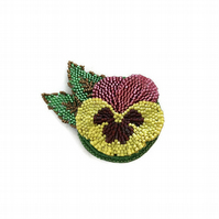 Beaded Flower Brooch, Yellow, Pink and Maroon Pansy Pin