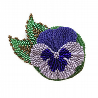 Beaded Flower Brooch, Purple Pansy Pin