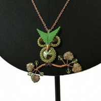 Green Owl Pendant With Swarovski Crystals on a Rose gold trace Chain