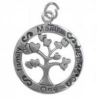 Sterling Silver Sentimental Message Family Tree Charm