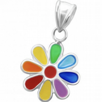 Sterling Silver Multicoloured Flower Charm