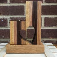Stunning Mixed Wood Heart Twin Candle Holder