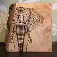 Elephant Pyrography - woodburning by hand