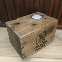 Upcycled Pallet Block Candle Holder (Yellow Pages)