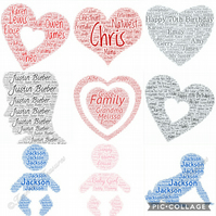 5 x Personalised Word Art Prints