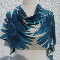 Scarf, Turquoise flowers (SAMPLE)