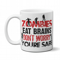 Zombies Eat Brains Funny Zombie Apocalypse Mug Gift For Men Dad Brother